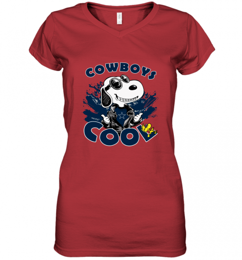 ectx dallas cowboys snoopy joe cool were awesome shirt women v neck t shirt 39 front red
