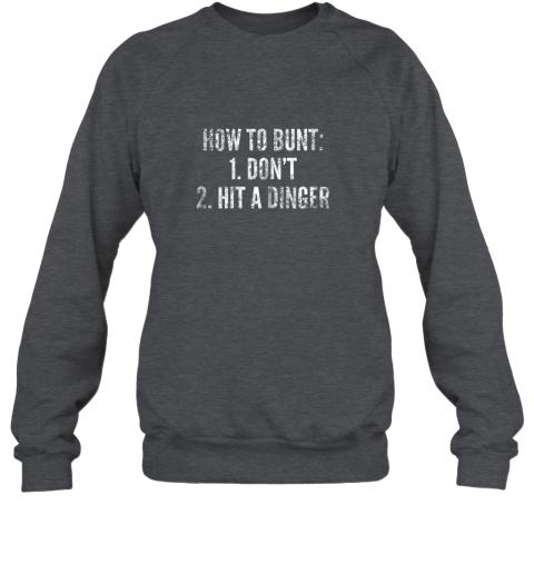 rmzj how to bunt hit a dinger funny baseball player home run fun sweatshirt 35 front dark heather