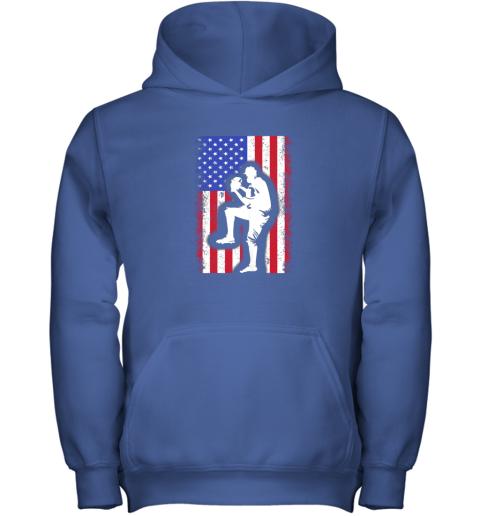 lbr0 vintage usa american flag baseball player team gift youth hoodie 43 front royal