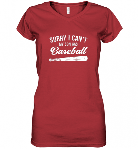 x21n sorry i cant my son has baseball shirt mom dad gift women v neck t shirt 39 front red