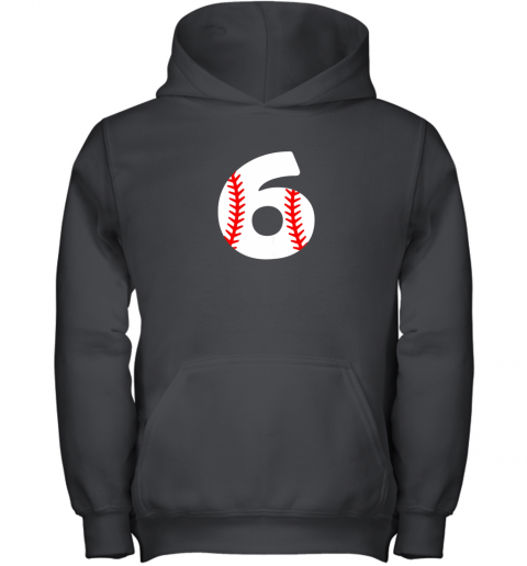 Sixth Birthday 6th BASEBALL Shirt  Number 6 Born in 2013 Youth Hoodie