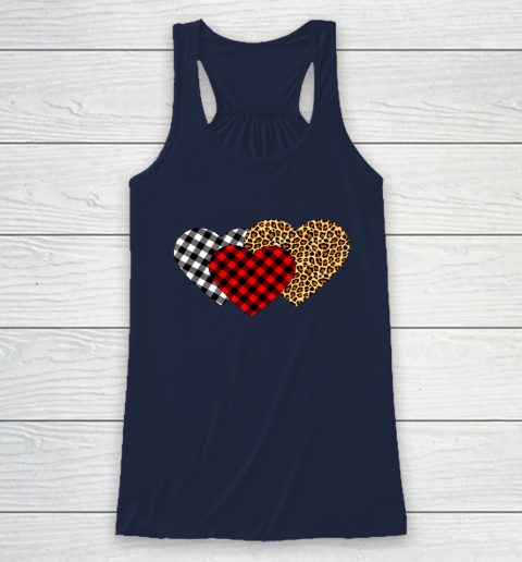 Leopard Heart Buffalo Plaid Heart Valentine Day Racerback Tank 8