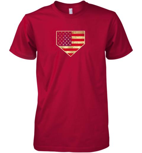 uj4v vintage american flag baseball shirt home plate art gift premium guys tee 5 front red