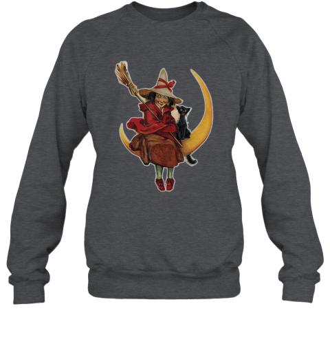 WITCH ON THE MOON PUMPKIN BLACK CAT Vintage Halloween Sweatshirt