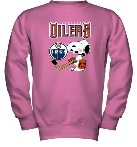 e2k4 edmonton oilers ice hockey broken teeth snoopy nhl shirt youth sweatshirt 47 front safety pink