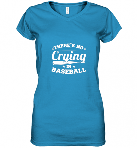 ozmn there39 s no crying in baseball gift women v neck t shirt 39 front sapphire