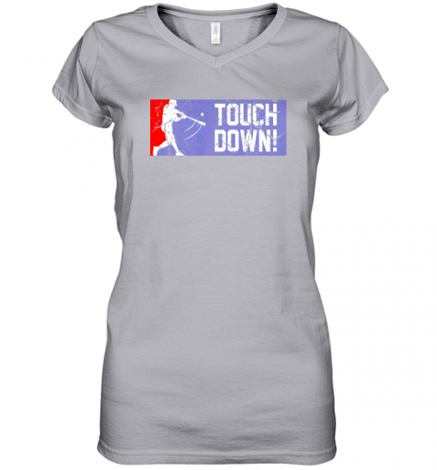 nuyd touchdown baseball funny family gift base ball women v neck t shirt 39 front sport grey