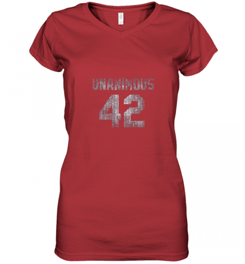 mnhq new york 42 baseball unanimous hof distressed mo hero women v neck t shirt 39 front red