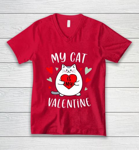 My Cat Is My Valentine Kitten Lover Heart Valentines Day V-Neck T-Shirt 6