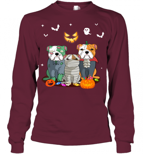 Halloween French Bulldog Witch Cute French Bulldog Lover Youth Long Sleeve
