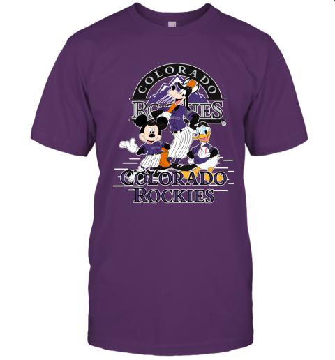 wd1w colorado rockies mickey donald and goofy baseball jersey t shirt 60 front team purple