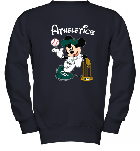 6euu oakland athletics mickey taking the trophy mlb 2019 youth sweatshirt 47 front navy