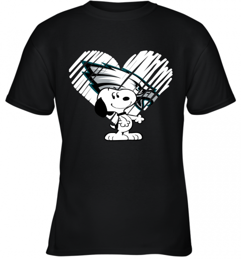 I Love Philadelphia Eagles Snoopy In My Heart NFL Youth T-Shirt