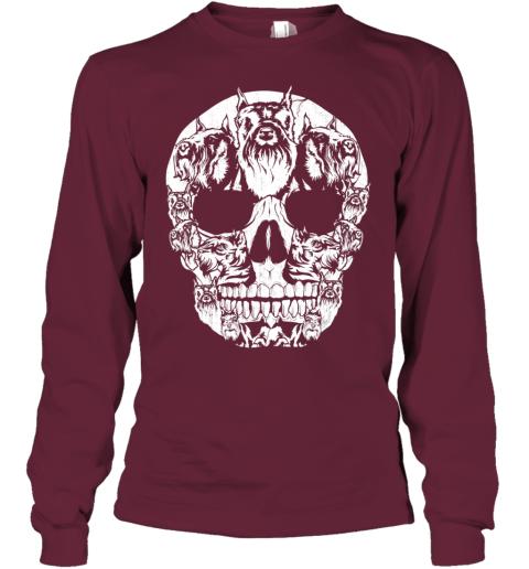 Schnauzer Dog Skull Halloween Costumes Gift Youth Long Sleeve