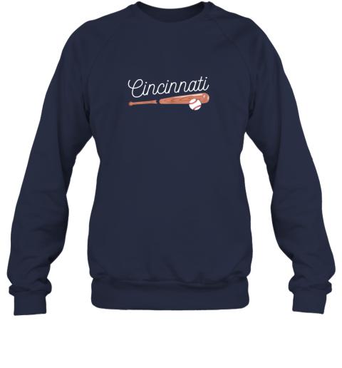 u5mv cincinnati baseball tshirt classic ball and bat design sweatshirt 35 front navy