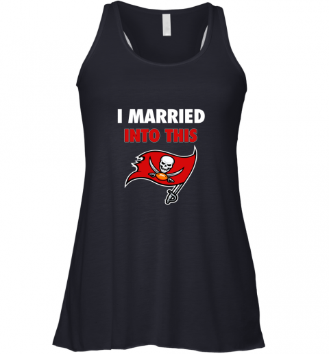 y7ou i married into this tampa bay buccaneers football nfl flowy tank 32 front midnight