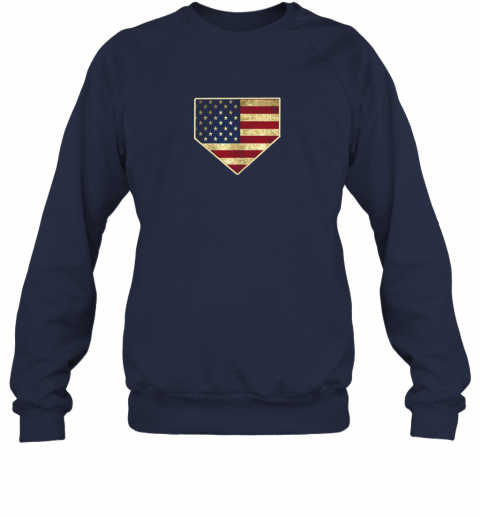 ys8w vintage american flag baseball shirt home plate art gift sweatshirt 35 front navy
