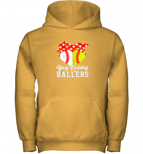 wusf busy raising ballers softball baseball youth hoodie 43 front gold