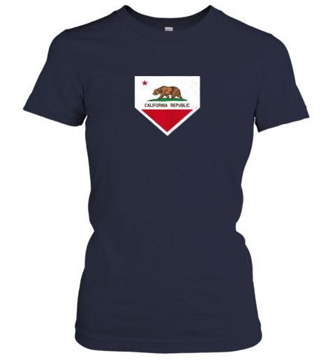 shvv vintage baseball home plate with california state flag ladies t shirt 20 front navy