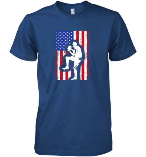 wiud vintage usa american flag baseball player team gift premium guys tee 5 front royal
