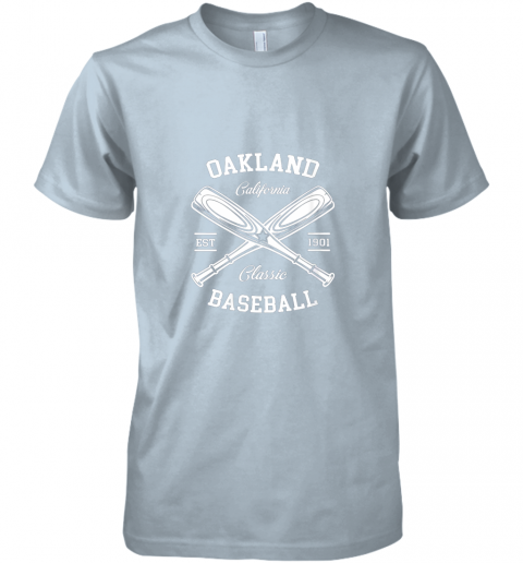 w20e oakland baseball classic vintage california retro fans gift premium guys tee 5 front light blue