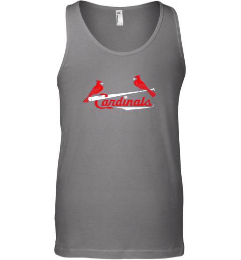 woos cardinal sports shirtst louis baseball fan unisex tank 17 front graphite heather