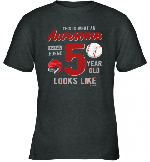 0yej kids 5th birthday gift awesome 5 year old baseball legend youth t shirt 26 front dark heather