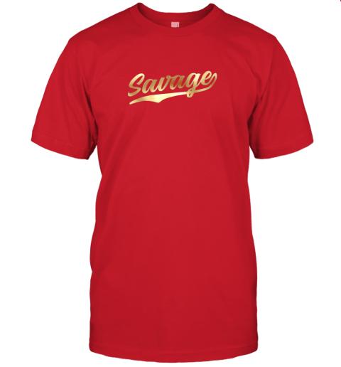 rj8n savage shirt retro 1970s baseball script font jersey t shirt 60 front red