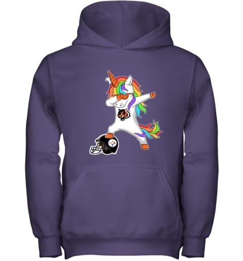 6trt football dabbing unicorn steps on helmet cincinnati bengals youth hoodie 43 front purple