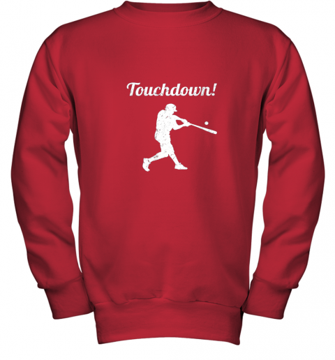 p0vj touchdown funny baseball youth sweatshirt 47 front red