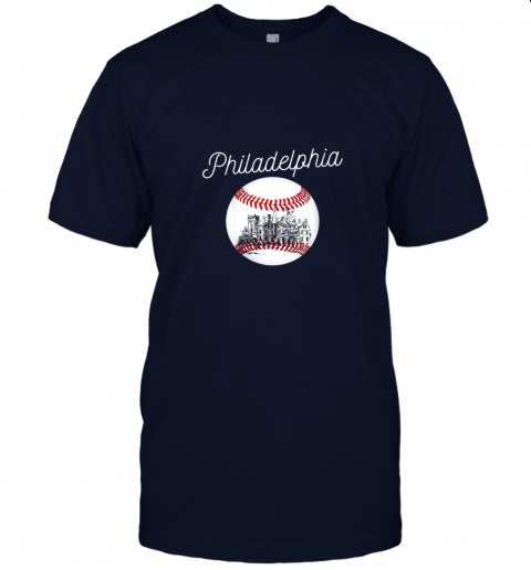 yc2t philadelphia baseball philly tshirt ball and skyline design jersey t shirt 60 front navy