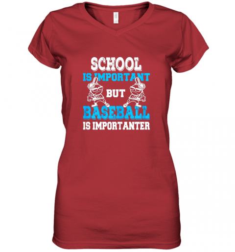 wrim school is important but baseball is importanter boys women v neck t shirt 39 front red