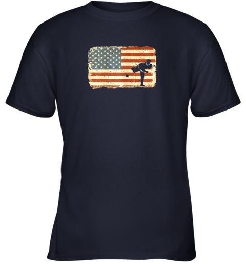 u2r3 vintage baseball pitcher shirt american flag youth t shirt 26 front navy