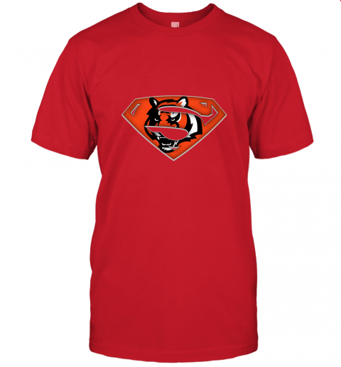 x3lk we are undefeatable the cincinnati bengals x superman nfl jersey t shirt 60 front red