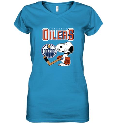 vmly edmonton oilers ice hockey broken teeth snoopy nhl shirt women v neck t shirt 39 front sapphire