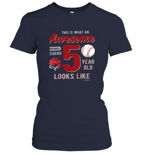 tqow kids 5th birthday gift awesome 5 year old baseball legend ladies t shirt 20 front navy