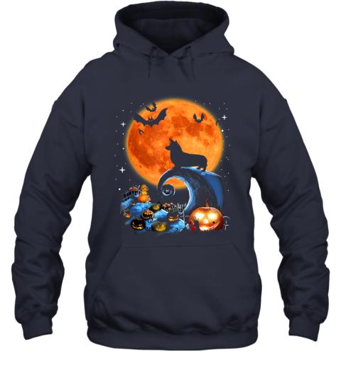 Corgi Dog Moon Pumpkin Halloween Costume Gift Hoodie