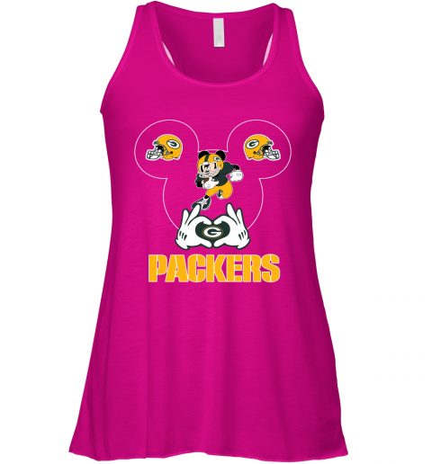 woyg i love the packers mickey mouse green bay packers flowy tank 32 front neon pink