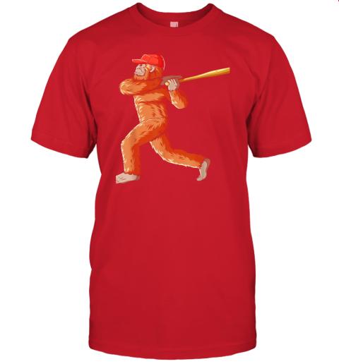 dtdx bigfoot baseball sasquatch playing baseball player jersey t shirt 60 front red