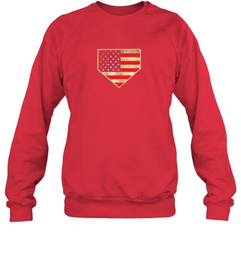 ys8w vintage american flag baseball shirt home plate art gift sweatshirt 35 front red