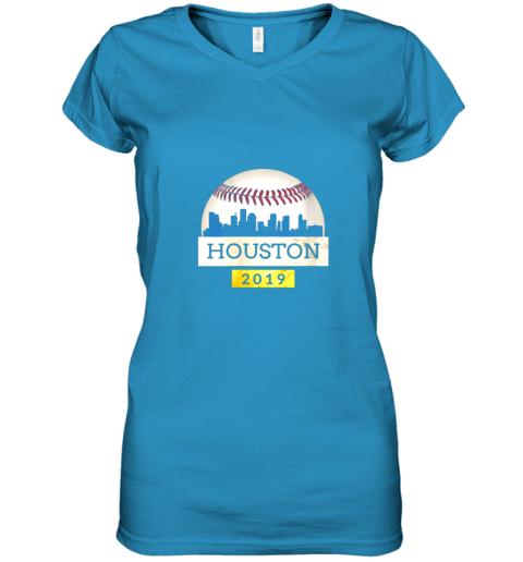 iv9q houston baseball shirt 2019 astro skyline on giant ball women v neck t shirt 39 front sapphire