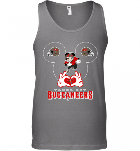 hto3 i love the buccaneers mickey mouse tampa bay buccaneers s unisex tank 17 front graphite heather
