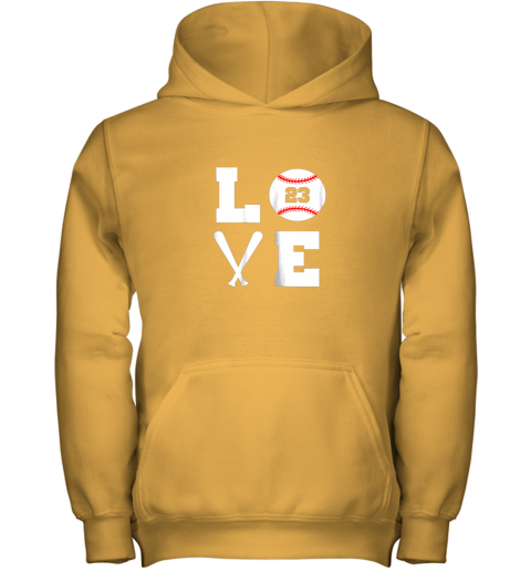 hgaw i love baseball player number 23 gift shirt youth hoodie 43 front gold