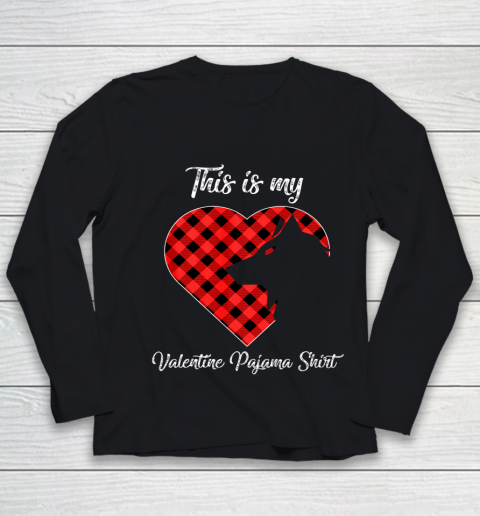 This Is My Valentine Pajama Shirt Wolf Valentines Day Youth Long Sleeve