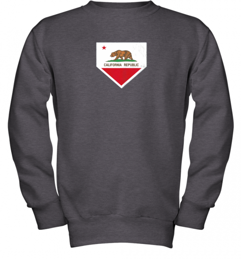 yykv vintage baseball home plate with california state flag youth sweatshirt 47 front dark heather