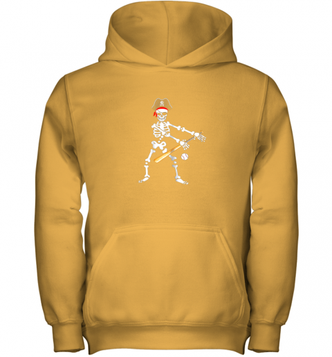 5jxj skeleton pirate floss dance with baseball shirt halloween youth hoodie 43 front gold