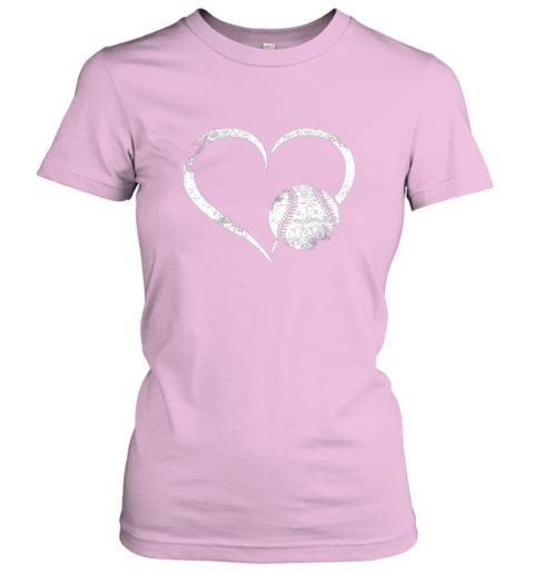 xutk i love baseballl funny baseball lover heartbeat ladies t shirt 20 front light pink