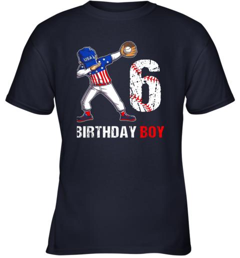 vqcl kids 6 years old 6th birthday baseball dabbing shirt gift party youth t shirt 26 front navy