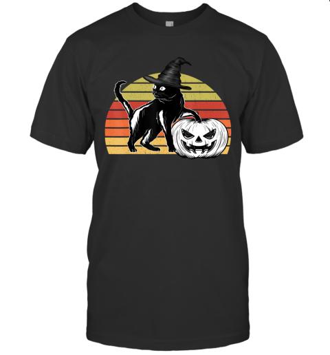 Vintage Scary Halloween Black Cat witch Hat Moon Pumpkin Bat T-Shirt