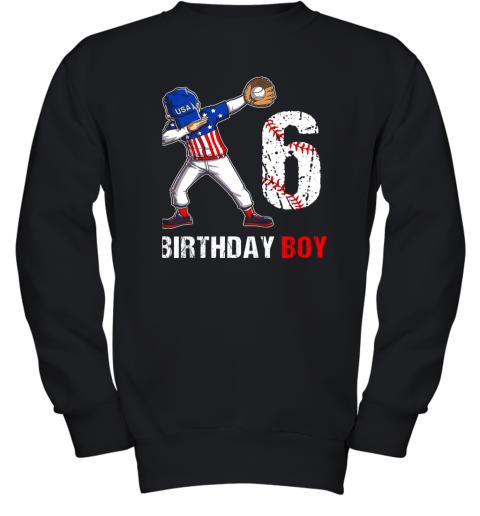 Kids 6 Years Old 6th Birthday Baseball Dabbing Shirt Gift Party Youth Sweatshirt